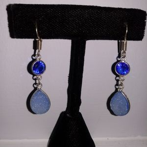 Jewelry - Sterling blue topaz and sugar druzy dangles